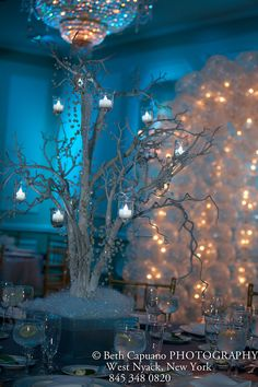 Winter Wonderland Tree Centerpiece Tablescape Centerpiece www.tablescapesbydesign.com https://www.facebook.com/pages/Tablescapes-By-Design/129811416695