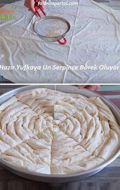 Hazır Yufkaya Un Serpince Börek Oluyor Köstliche Desserts, Delicious Desserts, Yummy Food, Pizza Pastry, Pan Relleno, Turkish Kitchen, Arabic Food, Iftar, Turkish Recipes