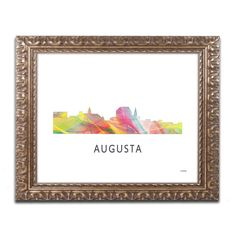 Marlene Watson 'Augusta Georgia Skyline WB-1' Ornate Framed Art