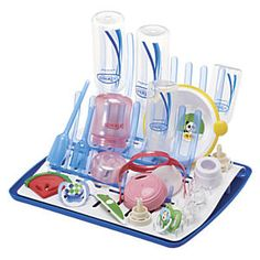 Dr. Brown's Folding Drying Rack: This is the best drying rack for Dr. Brown's® baby bottles, because it's specifically made for them! It holds 12 standard or eight Wide Neck bottles and components, and its drip tray neatly collects draining water. The triple racks fold nearly flat for storage, and later lives on to hold all types of baby dishware...
