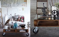 Salontafel van oude palet met wielen