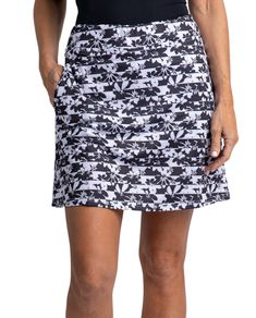 "#lorisgolfshoppe Women's Golf Apparel offers a classy collection of golf skorts, shorts, dresses, and golf tops. You gotta see this SOMEDAY MY PRINTS WILL COME (Black/White) Bette & Court Ladies Flora 18"" Pull On Golf Skort with unique , pretty prints and colors!"