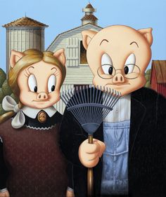 David Edward Byrd - American Gothic Porky and Petunia Pig. ❣Julianne McPeters❣ no pin limits American Gothic Painting, American Gothic House, Grant Wood American Gothic, American Gothic Parody, Art Grants, Looney Tunes Cartoons, Famous Artwork, Princess Drawings, American Spirit