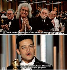 Rami Malek won for Bohemian Rhapsody, thanked all of Queen and Freddie Mercury. 25 Moments You Missed From The Golden Globes Queen Freddie Mercury, Freddie Mercury Quotes, Rami Malek Freddie Mercury, Queen Band, Discografia Queen, Queen Songs, Freddie Mercuri, Rock Bands, Queen Meme