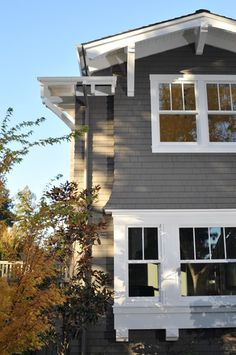 gray exterior with white trim--add black door and shutters too--like our house Craftsman Exterior, Grey Exterior, Exterior Cladding, House Paint Exterior, Exterior Paint Colors, Exterior House Colors, Wood Cladding, Traditional Exterior, Traditional Landscape