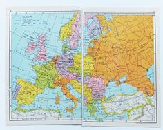 Small Vintage Map of Europe