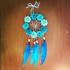 3 Floral Atlantic Blue Dream Catcher by DreamDen on Etsy, $20.00