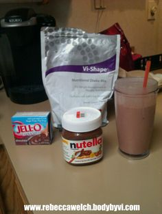 Chocolate Nutella Vi Shake recipe - 8 oz almond (or skim) milk, 2 scoops of Vi shake, 1-2 tblspn of fat free/sugar free chocolate pudding mix, 1 tblspn Nutella, a couple ice cubes and blend. Absolutey YUMMO!! Vi Shake available at www.rebeccawelch.bodybyvi.com