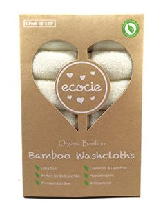 Ecocie 100 Natural Bamboo Baby Washcloths Organic Extra Soft Reusable Baby Towel Unbleached Chemicals  Dyes FREE Just The Right Touch for Sensitive Baby Skin 6 Pack 10X10 *** Check out the image by visiting the link.Note:It is affiliate link to Amazon. #NewMommyTips