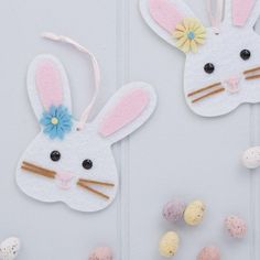 Set Of Two Easter Bunny Felt Decorations