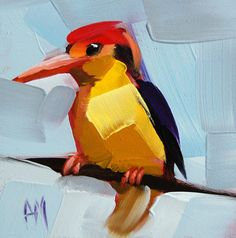Dwarf Kingfisher original bird painting by Moulton prattcreekart Bird Paintings On Canvas, Canvas Art, Bird Artists, Sheep Art, Kingfisher, Simple Art, Wall Art Designs, Pet Portraits, Illustration Art