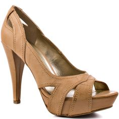 G by GUESS 'Hayzel Light Brown Synthetic open-toe Pump with cutout details 'n partially covered platform