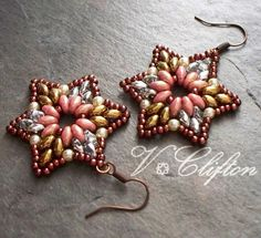 Star Motif Super Duo Bead Pattern Bead door VCArtisanOriginals
