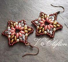 Star Motif Super Duo Bead Pattern Bead door VCArtisanOriginals