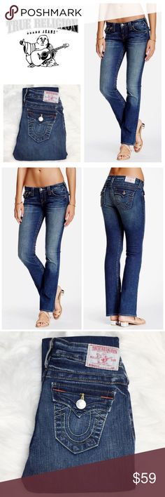 "True Religion Becky Sz 24 Petite - Aozm Blue Storm True Religion Becky Bootcut Size 24 Petite In Aozm Blue Storm. These jeans are in fabulous condition! The only reason you can tell these are preowned is because there is a slight blue color bleed onto the waist tag. Perfect stretchy fit sure to flatter any petite figure! Flat measurements are approximate and may vary depending on the angle etc. - Inseam: 29"", rise 7"", Waist 13"". 92% cotton, 6% polyester, 2% elastane. True Religion Jeans Boot…"
