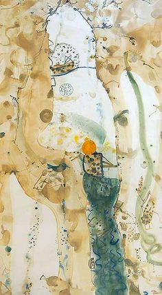 © John Olsen ~ Untitled (landscape with sun)