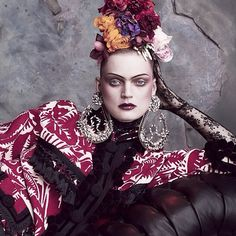 """Frida Kahlo"" Guinevere Van Seenus By Luigi + Iango For Vogue Germany June 2014 Lace Nail Art, Lace Nails, Guinevere Van Seenus, Zebra Print Nails, Frida And Diego, Stella Tennant, Day Glow, Happy Birthday To Us, Jungle Print"