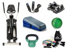 Variety of home gym equipment