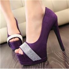 Admirable Suede Rhinestone Peep-toe Heels⊰⊹✿ ..  http://www.ericdress.com/list/cheap-stiletto-sandals-101991/17/