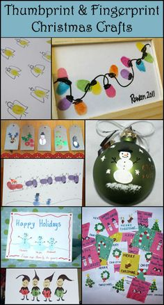 Thumbprint & Fingerprint Christmas Art- We are doing this this year on Christmas day. When all the parents are full and lazy on the couches. The kids will do fingerprint ornaments on white. Next year, maybe tiles. - DIY and Crafts Christmas Art For Kids, Preschool Christmas, Noel Christmas, Christmas Activities, Christmas Projects, Preschool Crafts, Winter Christmas, Christmas Cards, Toddler Crafts