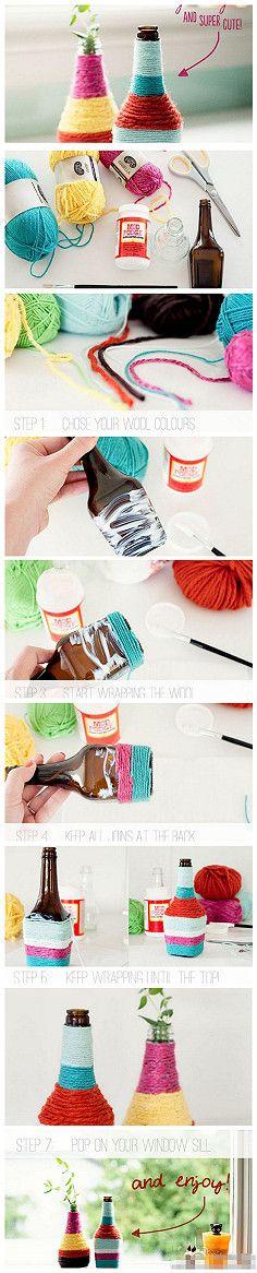 Coloreado a mano forrar con lana botellas
