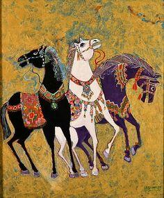 Image: Laila  Shawa - 3 Horses, 1975 (acrylic on board)