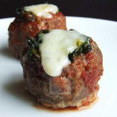 Meatballs stuffed with spinach and melting cheese | giverecipe.com | #meatballs #spinach