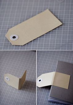 Use a merchandise tag as a notebook closure. Not showing in the photo is a mini bulldog clip finishing off the closure. Also a complete tutorial on how to make a notebook from a cereal box by Fiks*d.