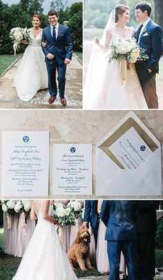Sara and Erik's gold and navy Tennessee plantation wedding