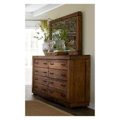 Progressive Furniture Inc. Maverick 8 Drawer Dresser with Mirror Rustic Dresser, Wood Dresser, Wood Drawers, Dresser With Mirror, Rustic Furniture, Living Room Furniture, Home Furniture, Double Dresser, Furniture Online
