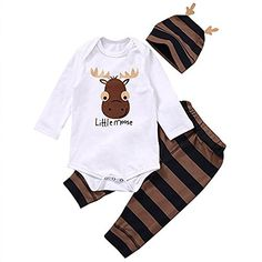 8e77cd49cd9 Baby Boys Clothing Sets Xmas Little moose Newborn Baby Boy Girls Clothes  Long Sleeve Romper Jumpsuit Long Pants +hat Outfits