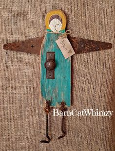 Your place to buy and sell all things handmade Primitive Christmas Ornaments, Christmas Angels, Rustic Crafts, Diy Home Crafts, Wood Angel, Angel Art, Eclectic Gallery Wall, Handmade Angels, Old Barn Wood