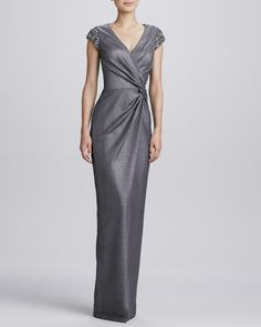 Beaded-Shoulder Wrap Gown  by David Meister at Neiman Marcus.