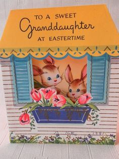 Your place to buy and sell all things handmade Easter Greeting Cards, Vintage Greeting Cards, Easter Quotes Images, Easter Celebration, Hoppy Easter, March Madness, Vintage Easter, Cute Bunny, Vintage Ads