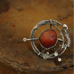 Ring | Cobalt Blue Designs.  'Compass'   Oxidized sterling silver and raw carnelian by  b f jewelry