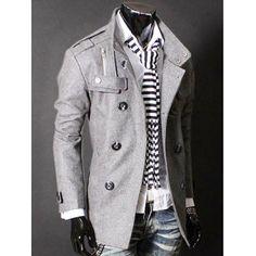 Epaulet Zipper Design Double Breasted Wool Blends Coat #shoes, #jewelry, #women, #men, #hats