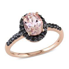 Miadora 14k Rose Gold 1/4ct TDW Black Diamond and Morganite Ring   Overstock™ Shopping - Top Rated Miadora Gemstone Rings