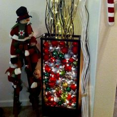 A vase with lights & ornaments & lighted branches! Light Decorations, Christmas Decorations, Burlap Centerpieces, Lighted Branches, Vase With Lights, Ladder Decor, Sweet Home, Holidays, Decorating