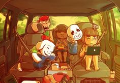 Road trip! Undertale<<<<<<Chara looks ready to murder someone ... ... ... WAIT WHERE'D YOU GET THE KNIFE CALM DOWN CHARA