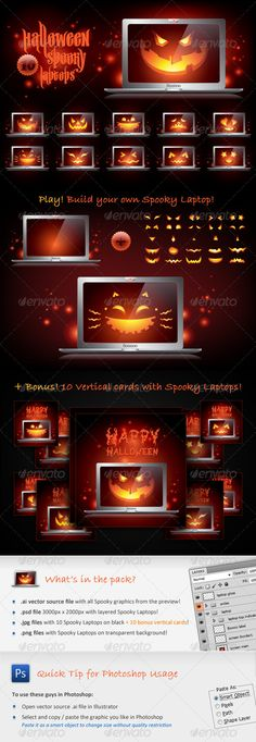 Halloween Spooky Laptops  #GraphicRiver         10 amazing 100% vector icons with Spooky Laptops for your Halloween creative designs!   Funny Halloween holiday icon set in vibrant orange and black colors with jack-o-lantern Halloween pumpkin smiles looking from a notebook. These stylish haunted metallic / silver computers are great objects for website holiday decoration, web application, seasonal greeting card with monsters, flayer or banner background, Halloween scary party poster design…