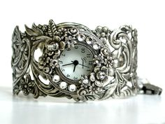 Silver Women's Wrist Watch with Swarovski Clear Crystal Rhinestones on Silver Floral Band - Vintage style - Victorian. $130.00, via Etsy.