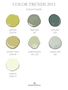 Color Trends 2015 ~ add a little lushness to a room with the green color family.