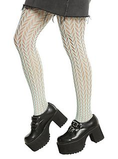 Blackheart Mint Crochet Tights,
