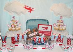 Blue and Red Airplane Party dessert Table