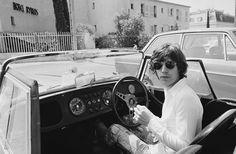 1971,Mick Jagger cruising around St Tropez in his Morgan Plus 8 Roadster