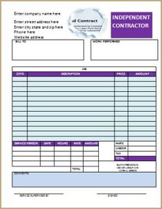 free independent contractor invoice invoice template templates free printables stenciling vorlage