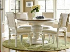 Universal Furniture Summer Hill Round Single Pedestal Dining Set w/ Woven Accent Side Chairs in Cotton for Off by Dining Rooms Outlet White Round Kitchen Table, Round Pedestal Dining Table, Dining Tables, White Dining Room Table, Kitchen Dining, Kitchen Table Chairs, Round Tables, Kitchen Nook, Dining Sets