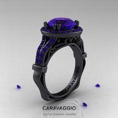 Caravaggio 14K Black Gold 3.0 Ct Tanzanite Engagement Ring, Wedding Ring R620-14KBGTA