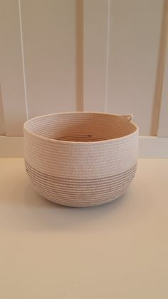 Large Gray and White Rope Basket by PrairieStMercantile on Etsy