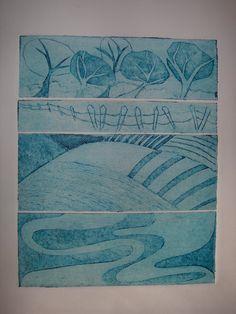 Landscape Collagraph in blue